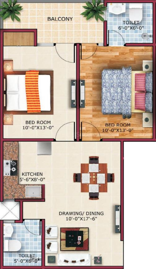 Vihaan Galaxy Floor Plan: 2 BHK Unit with Built up area of 1010 sq.ft 1