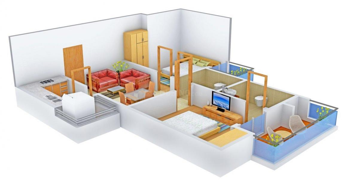Ruchira The Sapphire Floor Plan: 2 BHK Unit with Built up area of 927 sq.ft 1