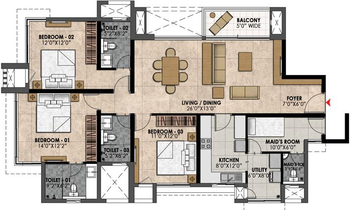 Prestige Fairfield Floor Plan: 3 BHK Unit with Built up area of 1993 sq.ft 1