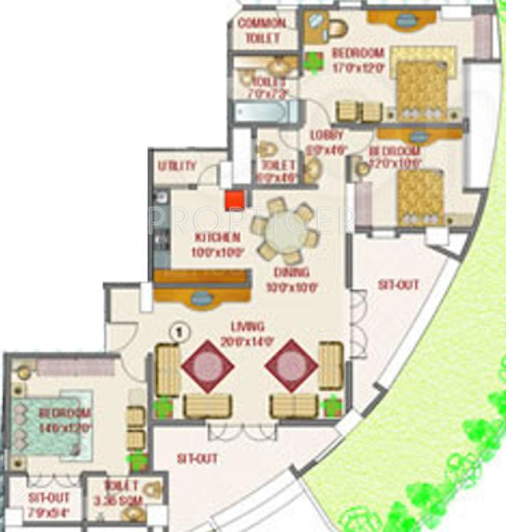 Rohan Aasman Floor Plan: 3 BHK Unit with Built up area of 1600 sq.ft 1
