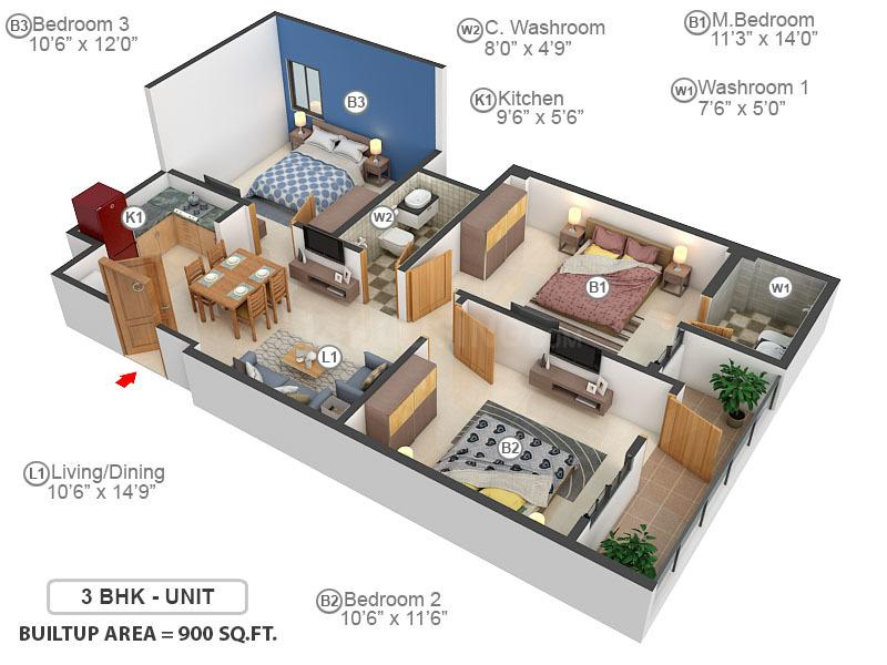 Delhi Shubh Apartment Part 1 Floor Plan: 3 BHK Unit with Built up area of 900 sq.ft 1