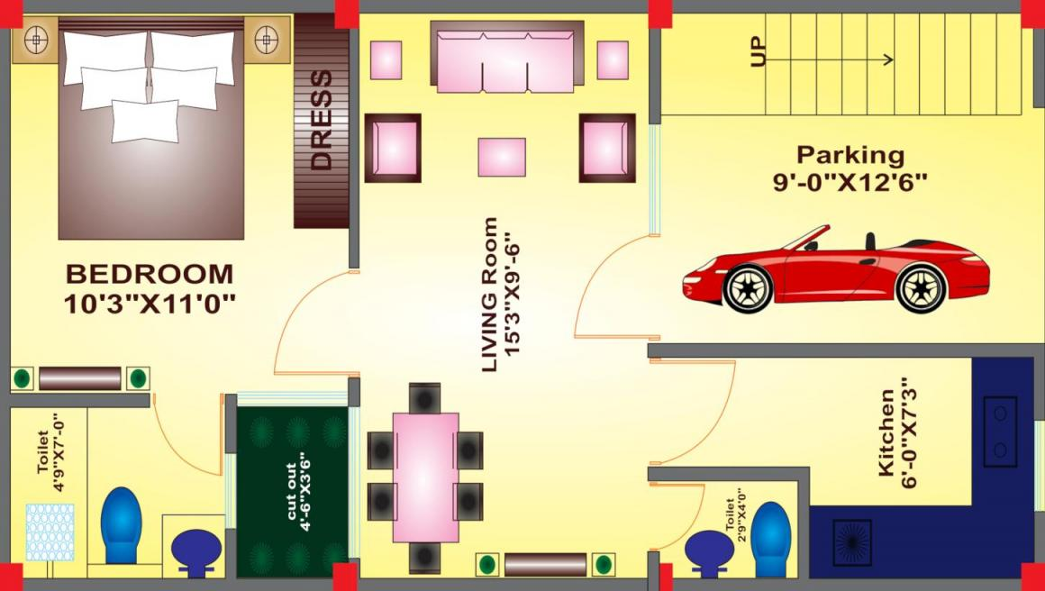 Sanskriti Garden  Floor Plan: 1 BHK Unit with Built up area of 650 sq.ft 1