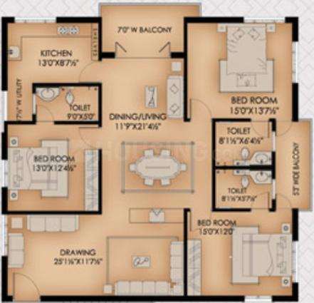 Aditya Hill Paradise 2 Floor Plan: 3 BHK Unit with Built up area of 2500 sq.ft 1