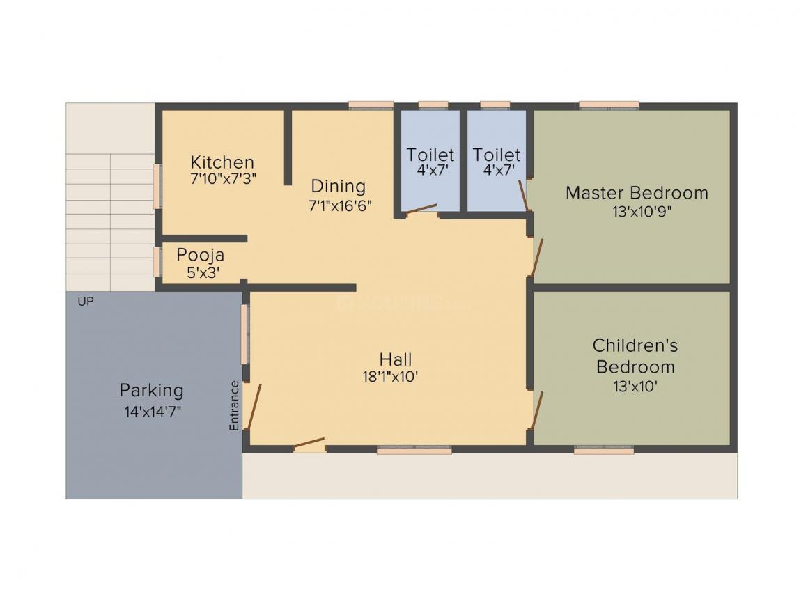 GM Bhavana Homes Floor Plan: 2 BHK Unit with Built up area of 1160 sq.ft 1