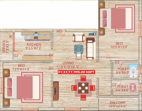 SPR Sri Thavamani Eswarar Flats Floor Plan: 2 BHK Unit with Built up area of 995 sq.ft 1