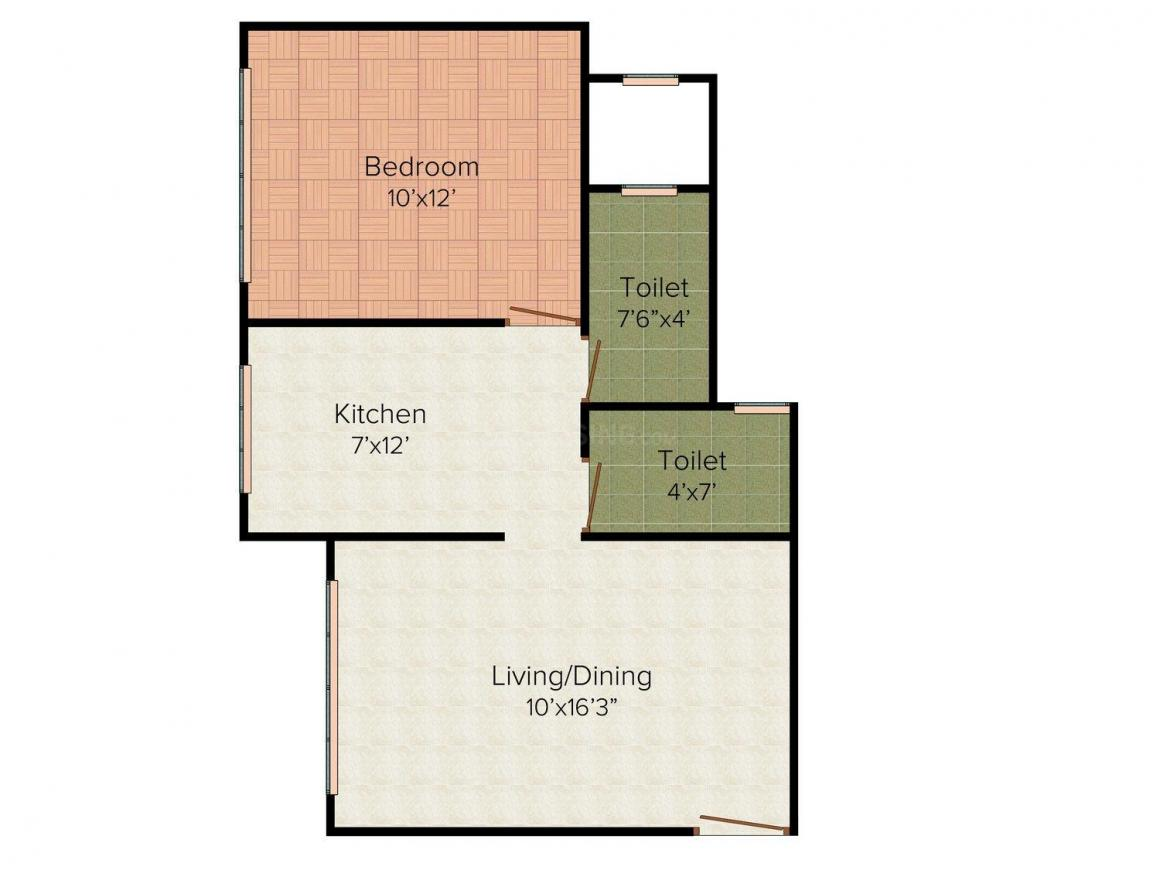 Floor Plan Image of 675.0 - 1025.0 Sq.ft 1 BHK Apartment for buy in Kamla Whitefield
