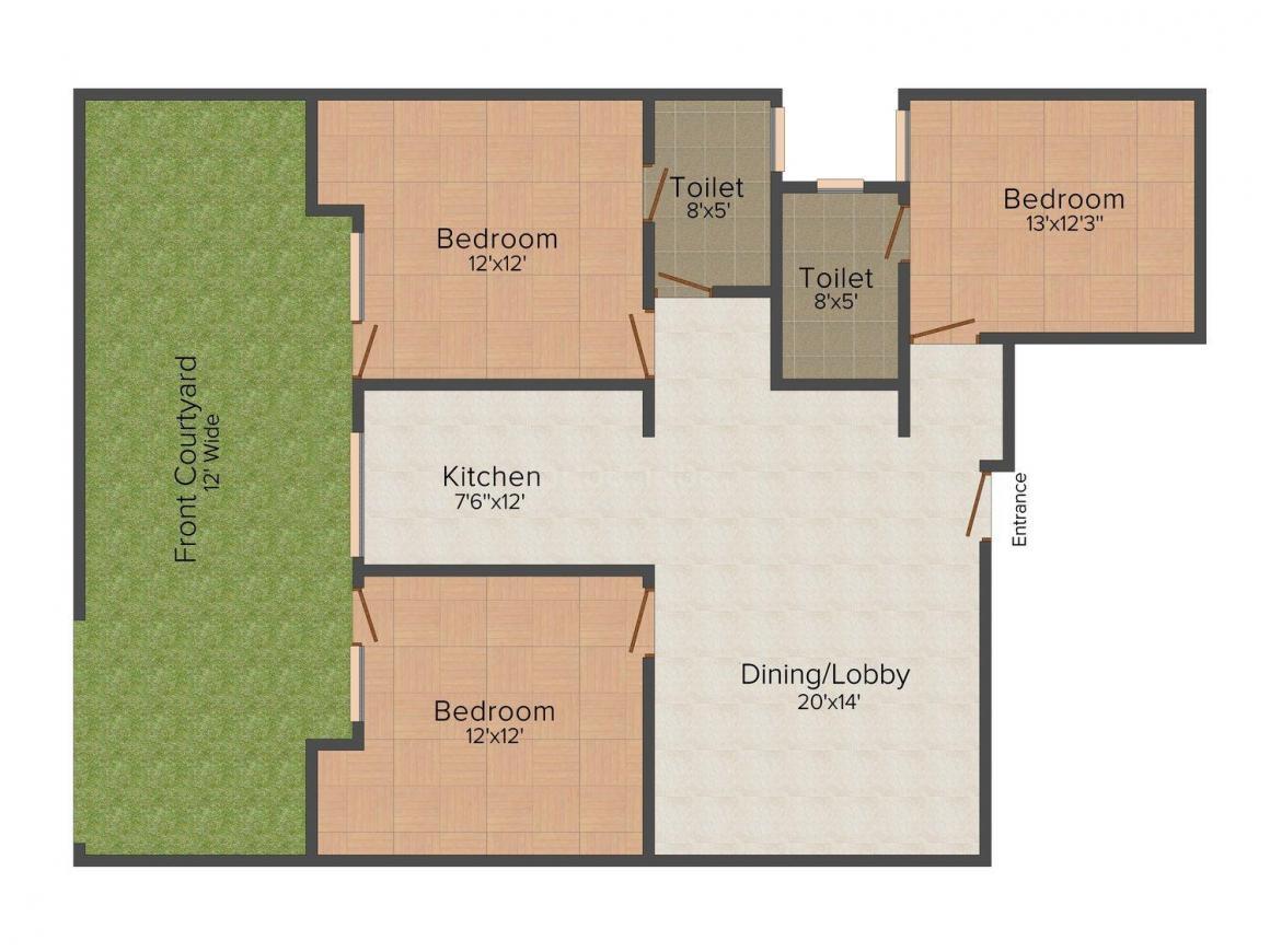 Floor Plan Image of 0 - 1440.0 Sq.ft 3 BHK Independent Floor for buy in Sagar Floors K Block Sainik Colony