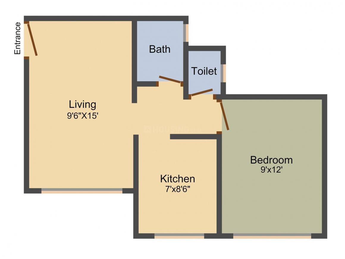 Shree Sai Plaza Floor Plan: 1 BHK Unit with Built up area of 450 sq.ft 1