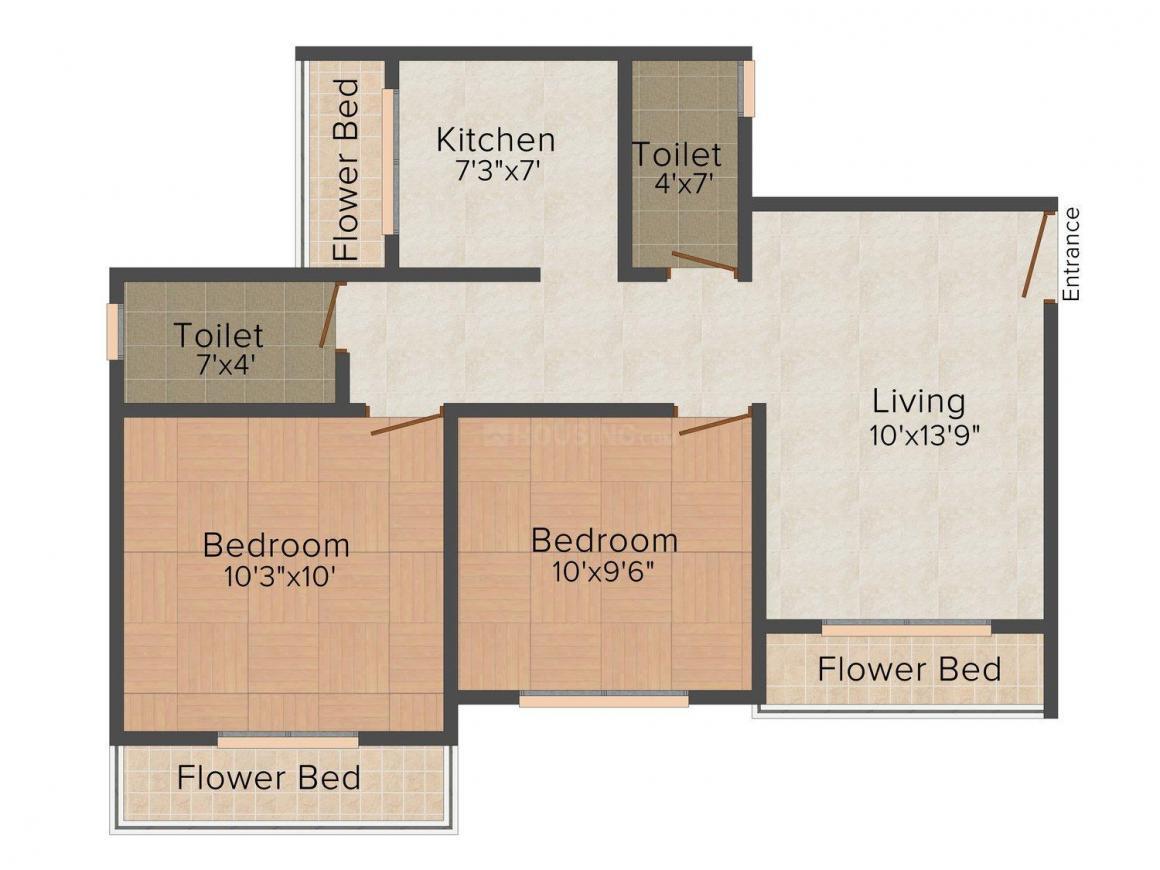 Floor Plan Image of 0 - 1040 Sq.ft 2 BHK Apartment for buy in Pushp Vinayak Complex