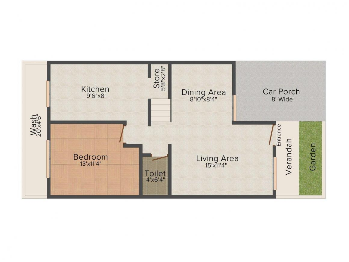 Floor Plan Image of 0 - 1500 Sq.ft 3 BHK Villa for buy in Cottages