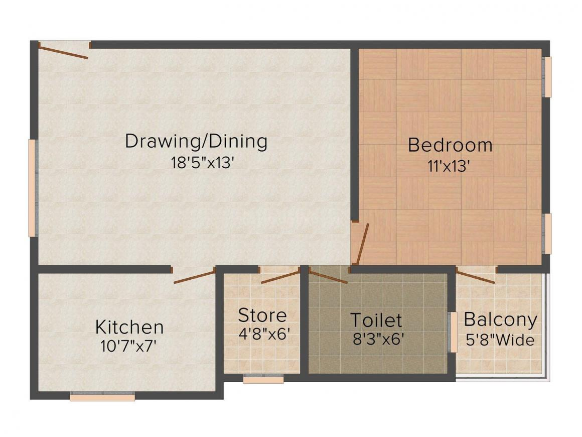 Floor Plan Image of 504.0 - 1216.0 Sq.ft 1 BHK Apartment for buy in Dream Residency