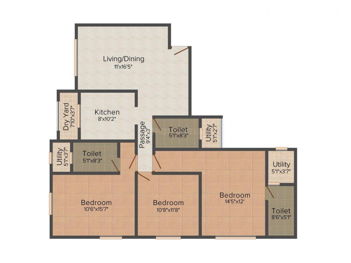 Floor Plan Image of 0 - 1110.0 Sq.ft 3 BHK Apartment for buy in Ekta Maplewood