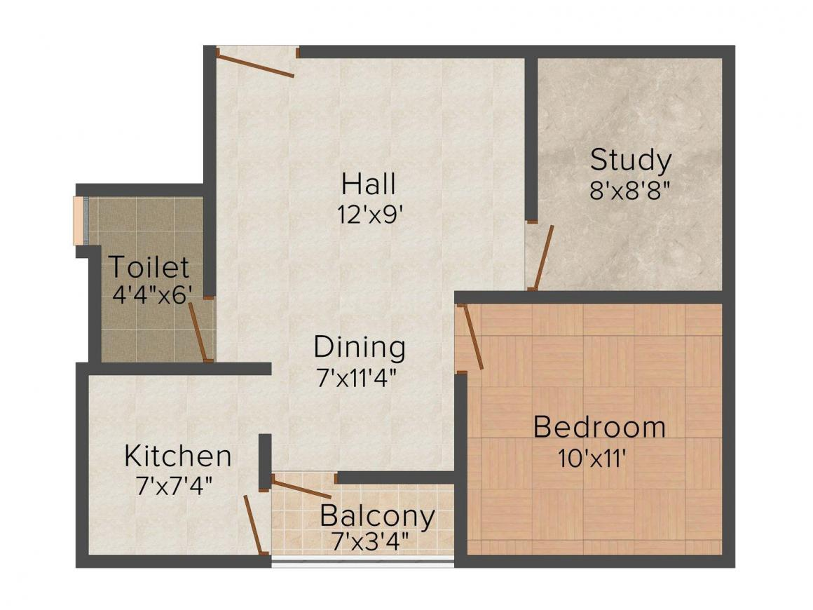 Floor Plan Image of 726.0 - 1018.0 Sq.ft 1.5 BHK Apartment for buy in JMD Shiv Ashish