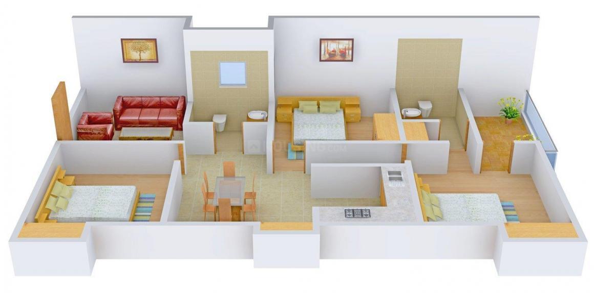 Floor Plan Image of 1250 - 1600 Sq.ft 3 BHK Apartment for buy in United Gemini Apartment