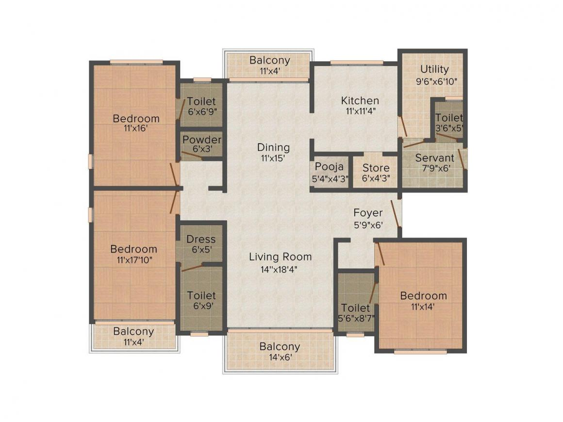 Floor Plan Image of 2816 - 4065 Sq.ft 3 BHK Apartment for buy in Mangla Aura Premium Appts