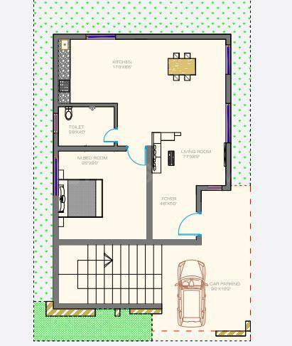 Mitta Iris Floor Plan: 1 BHK Unit with Built up area of 556 sq.ft 1