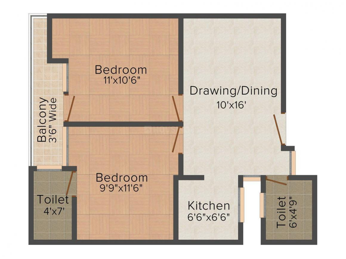 Aura Apartment-6 Floor Plan: 2 BHK Unit with Built up area of 850 sq.ft 1