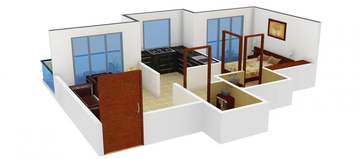 Floor Plan Image of 660.0 - 665.0 Sq.ft 1 BHK Apartment for buy in Vardhaman Heights