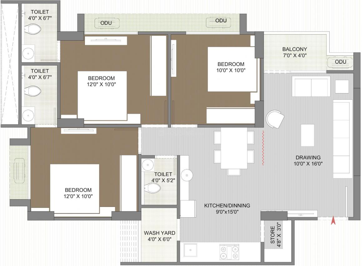 Zion Skyfield Floor Plan: 3 BHK Unit with Built up area of 765 sq.ft 1