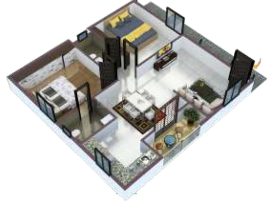 Aaradhya Aavas Floor Plan: 2 BHK Unit with Built up area of 980 sq.ft 1