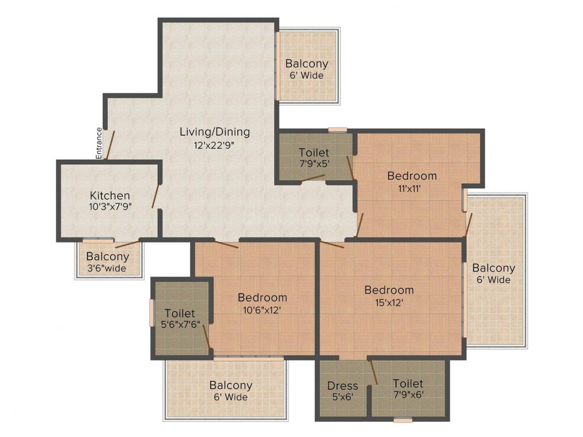 Krrish Florence Estate Floor Plan: 3 BHK Unit with Built up area of 1865 sq.ft 1