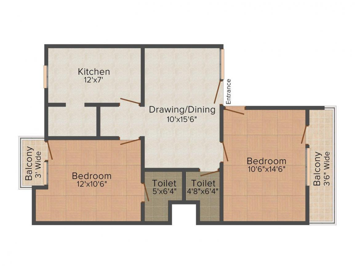 Floor Plan Image of 0 - 720 Sq.ft 2 BHK Independent Floor for buy in OM O P Apartment