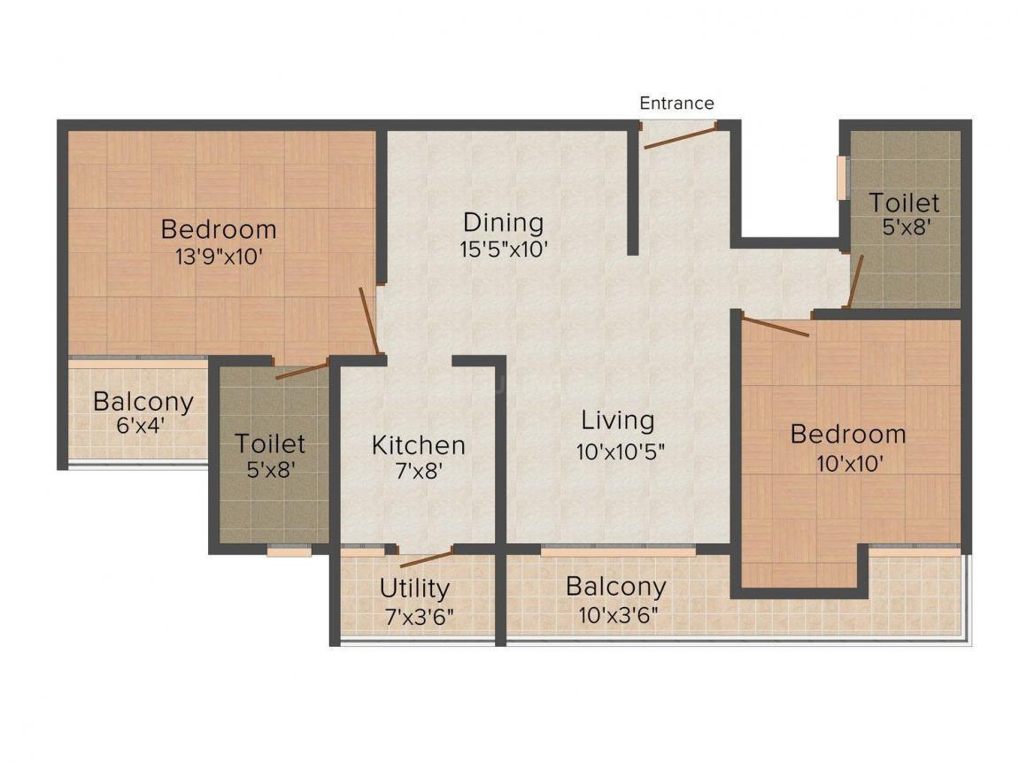 Motia Platinum Floors Floor Plan: 2 BHK Unit with Built up area of 950 sq.ft 1