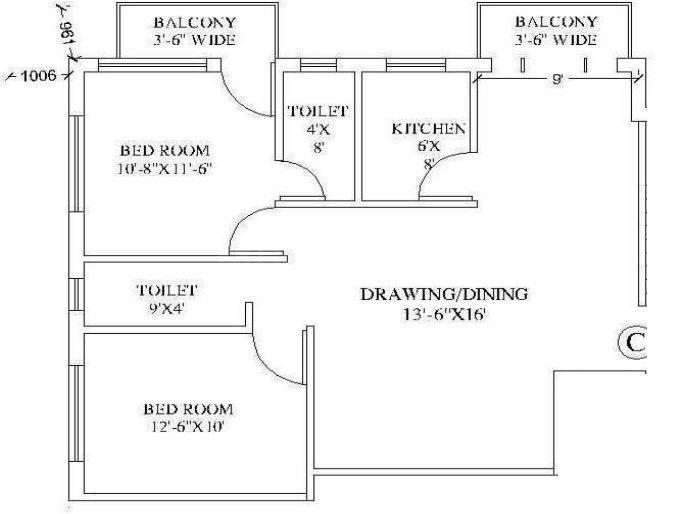 Magnolia Crystal Floor Plan: 2 BHK Unit with Built up area of 890 sq.ft 1