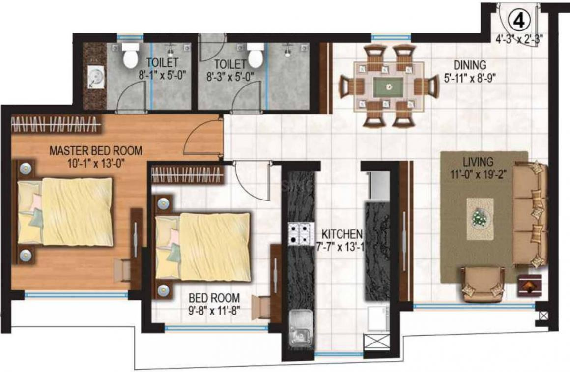Rhythm Serenity Heights Floor Plan: 2 BHK Unit with Built up area of 781 sq.ft 1