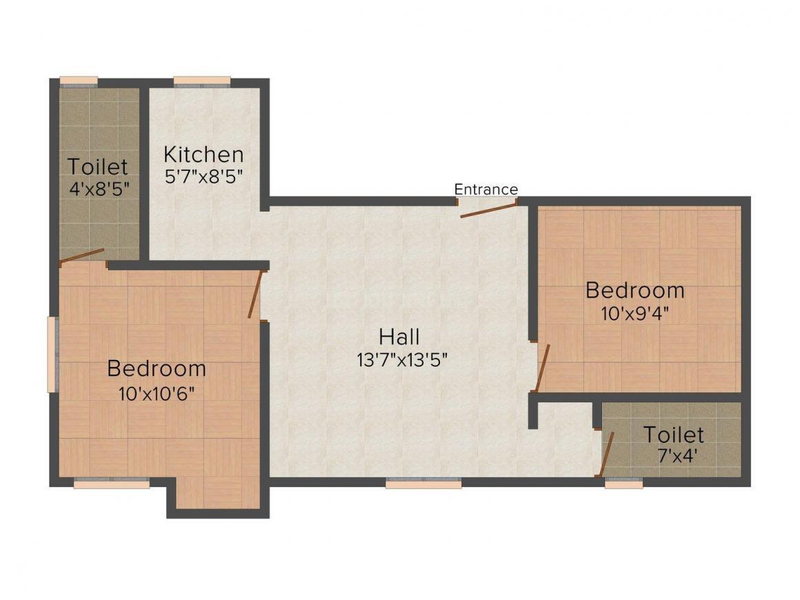 Floor Plan Image of 0 - 624.0 Sq.ft 2 BHK Apartment for buy in Keerthi Naviya's Rani