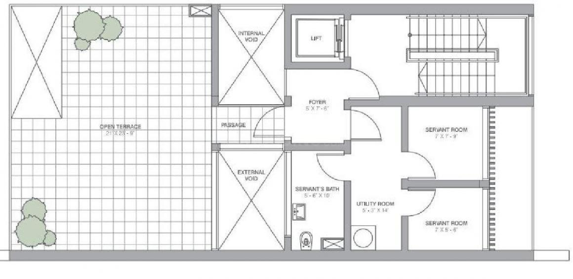 Tata Housing Primanti Vertilla Floor Plan: 4 BHK Unit with Built up area of 7000 sq.ft 1