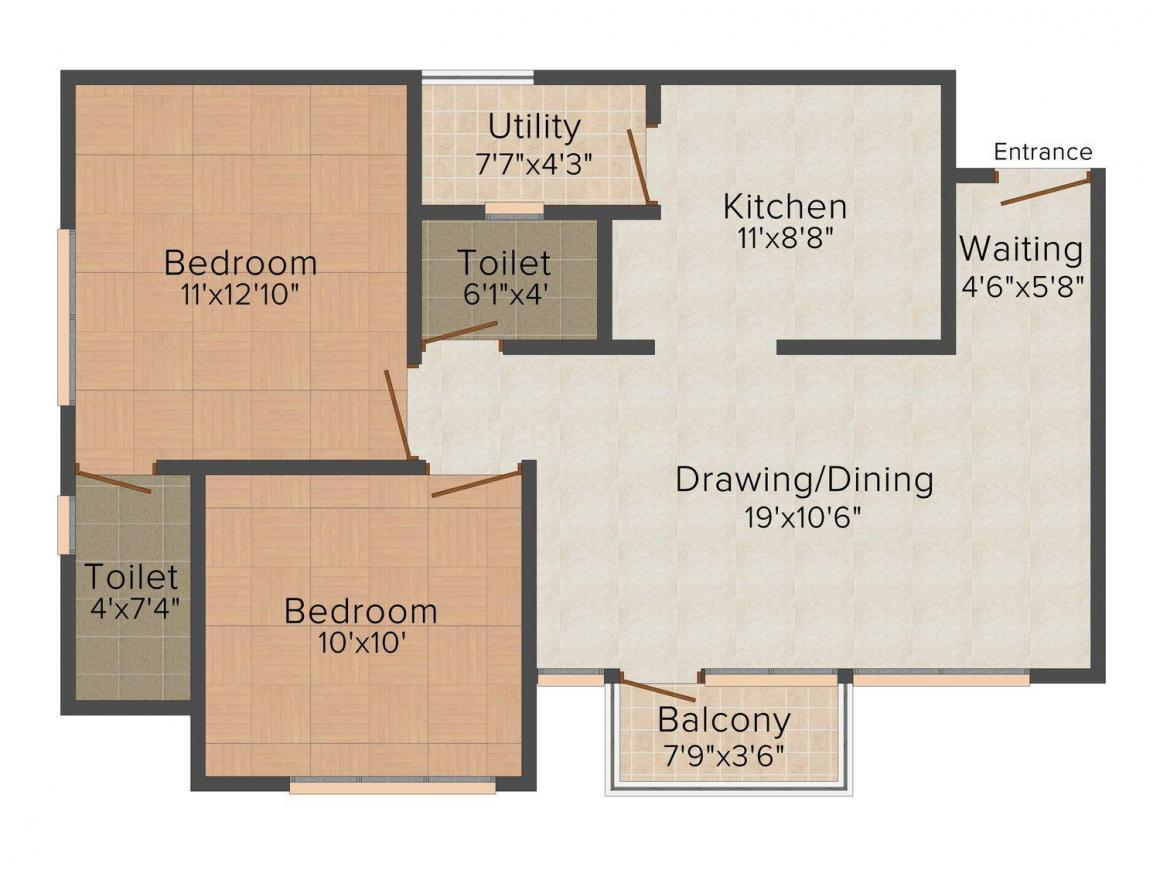 Nirman Rejoice Floor Plan: 2 BHK Unit with Built up area of 1170 sq.ft 1