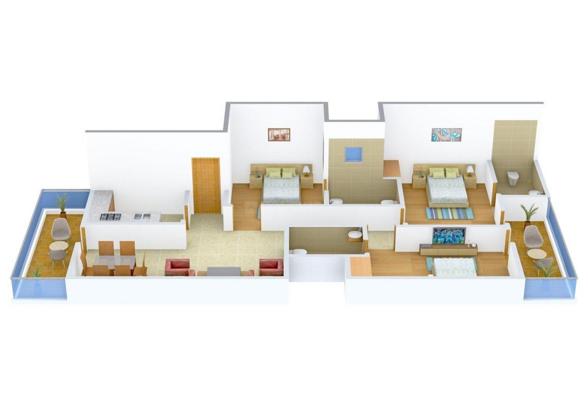 Yogendra Floors - 1 Floor Plan: 3 BHK Unit with Built up area of 1935 sq.ft 1