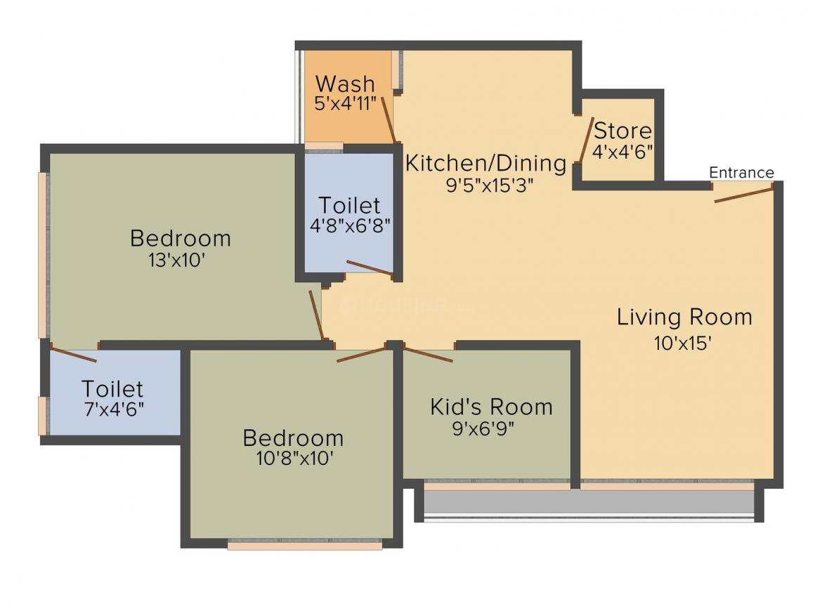 Sun Aspire Floor Plan: 2 BHK Unit with Built up area of 1235 sq.ft 1