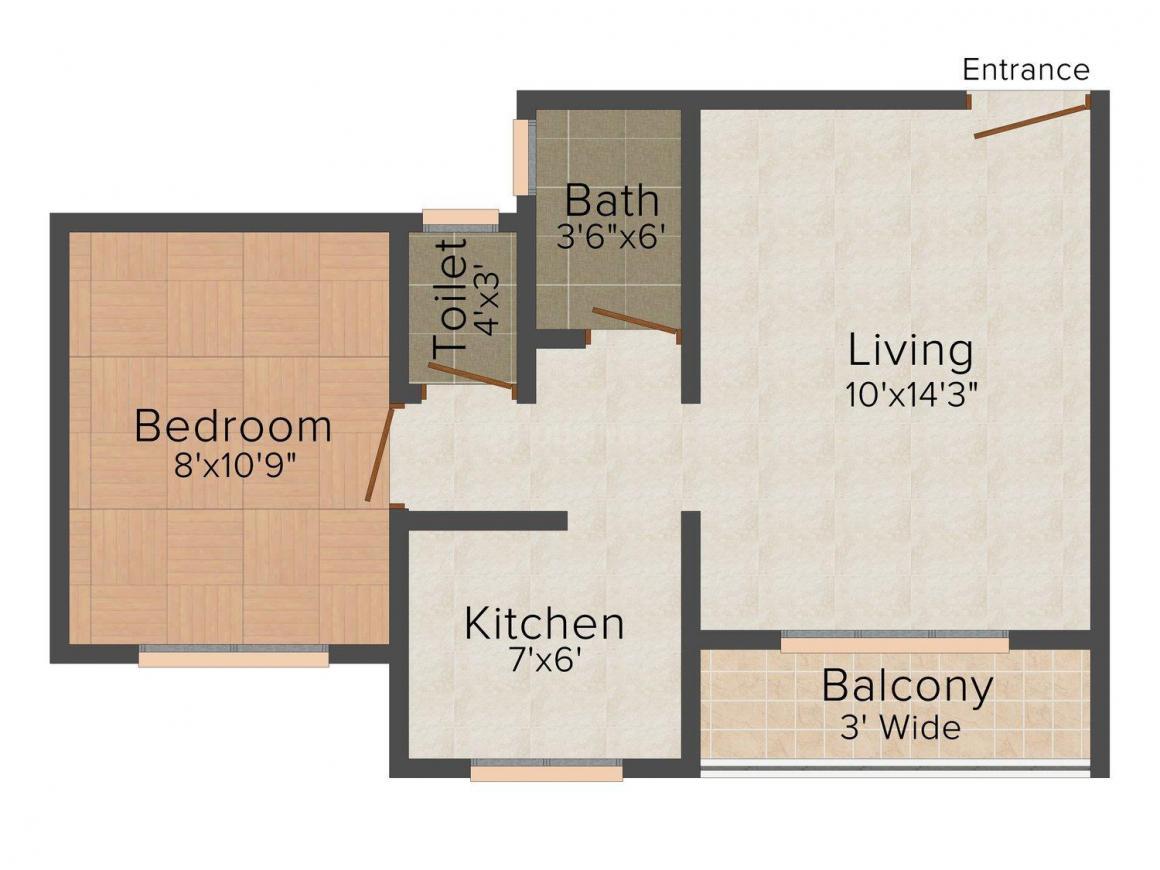 Floor Plan Image of 495.0 - 530.0 Sq.ft 1 BHK Apartment for buy in UB Tirupati Complex