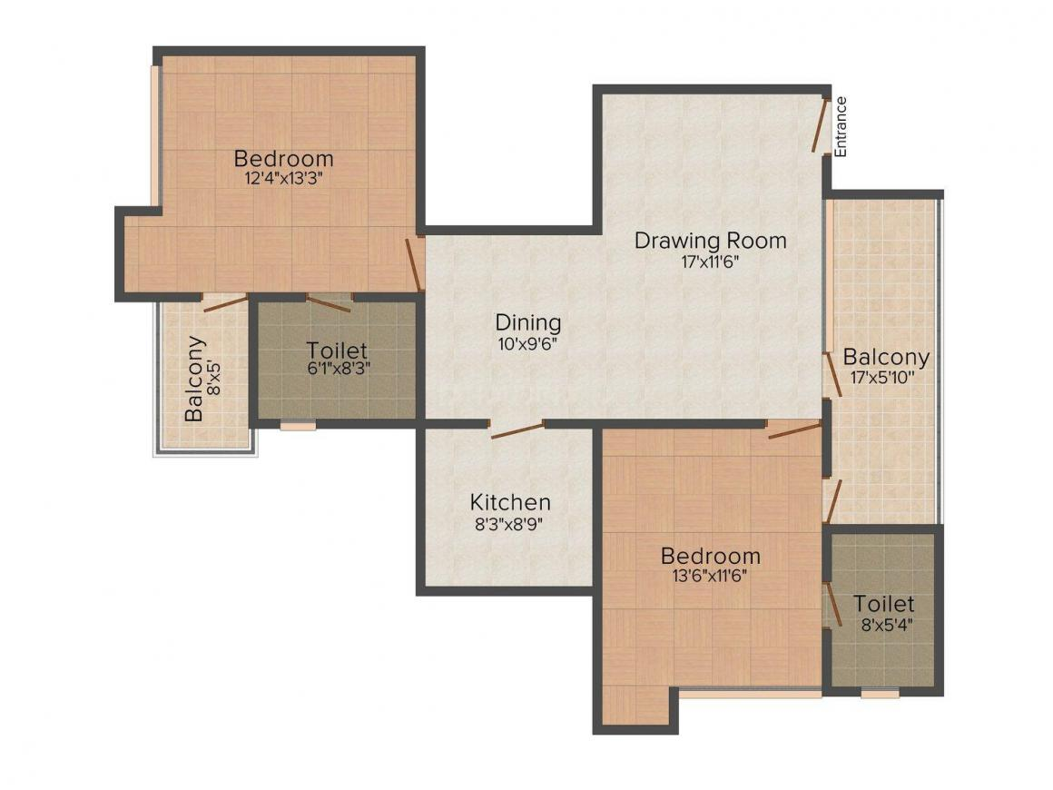 Floor Plan Image of 1158.0 - 2100.0 Sq.ft 2 BHK Apartment for buy in Anil Offset Brij Hari Apartments