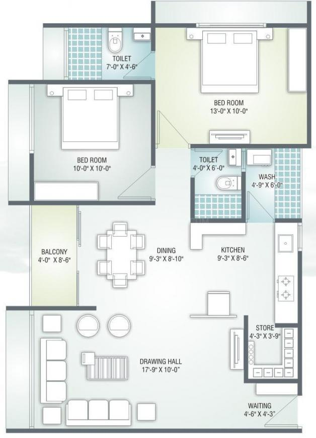 Vyapti Vandemataram Prime Floor Plan: 2 BHK Unit with Built up area of 1215 sq.ft 1