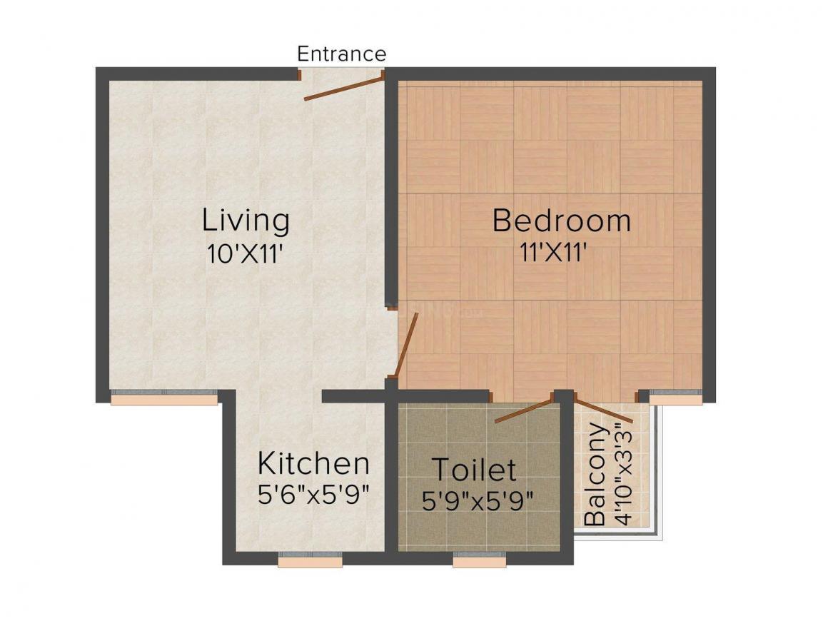 Sanskar Homes - 22 Floor Plan: 1 BHK Unit with Built up area of 450 sq.ft 1