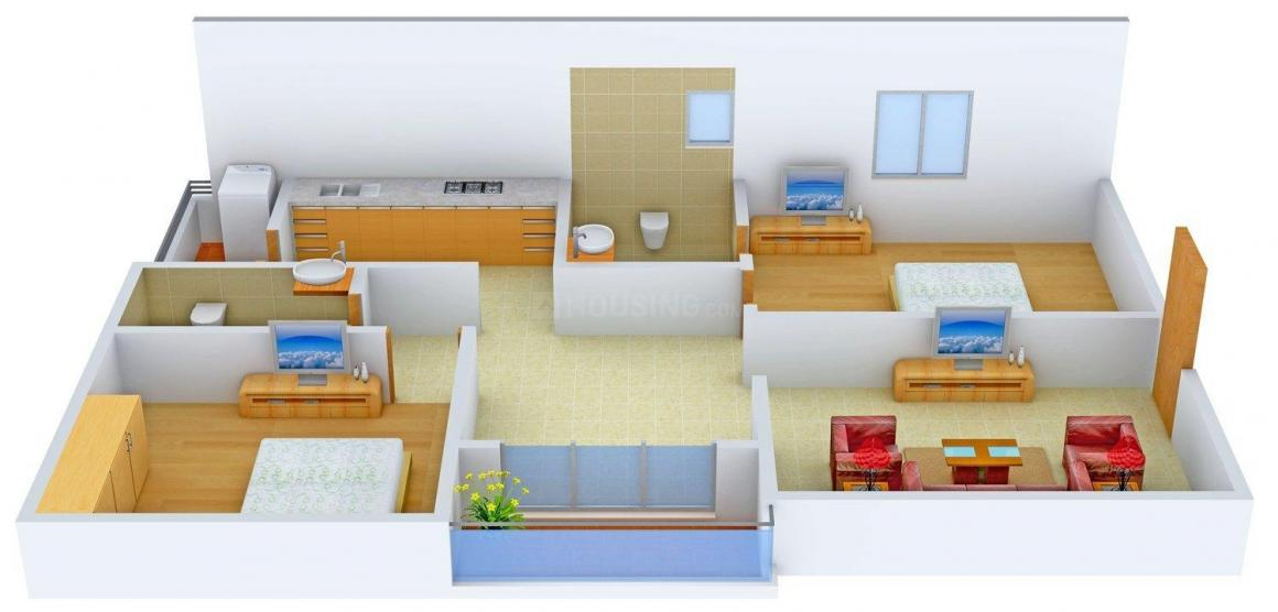 Floor Plan Image of 1020.0 - 1350.0 Sq.ft 2 BHK Apartment for buy in SLV Torrent