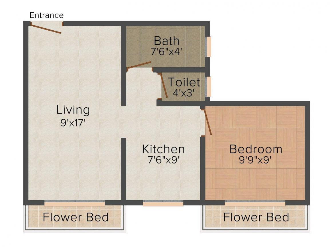 Floor Plan Image of 590 - 880 Sq.ft 1 BHK Apartment for buy in Magic Star Homes