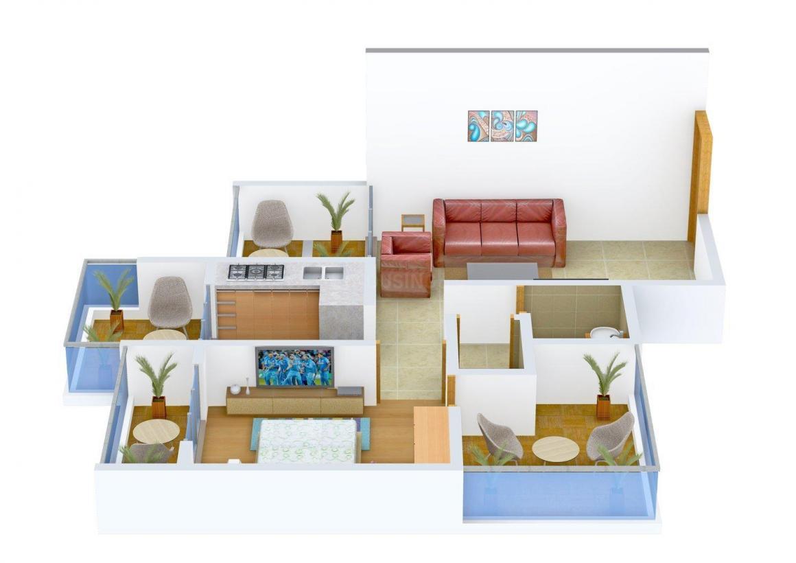 Floor Plan Image of 648 - 1005 Sq.ft 1 BHK Apartment for buy in Satyam Prestige