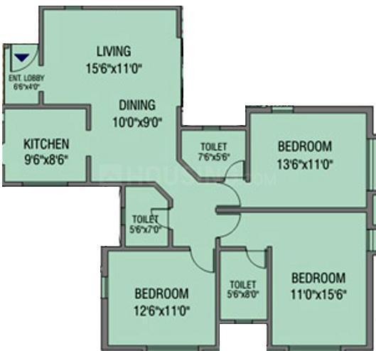 Raviraj Citadel Empress Floor Plan: 3 BHK Unit with Built up area of 1435 sq.ft 1