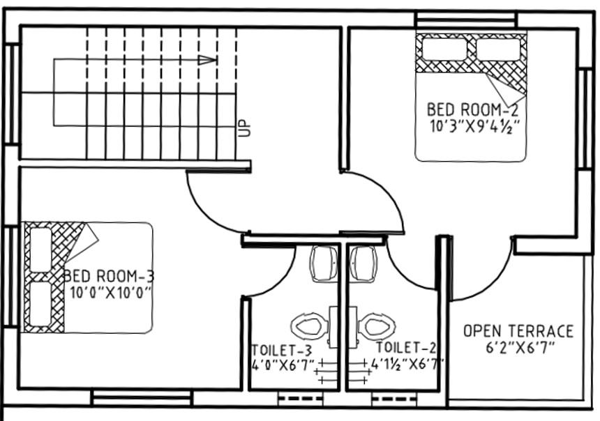 Fairyland Sai Residency Floor Plan: 3 BHK Unit with Built up area of 1251 sq.ft 1