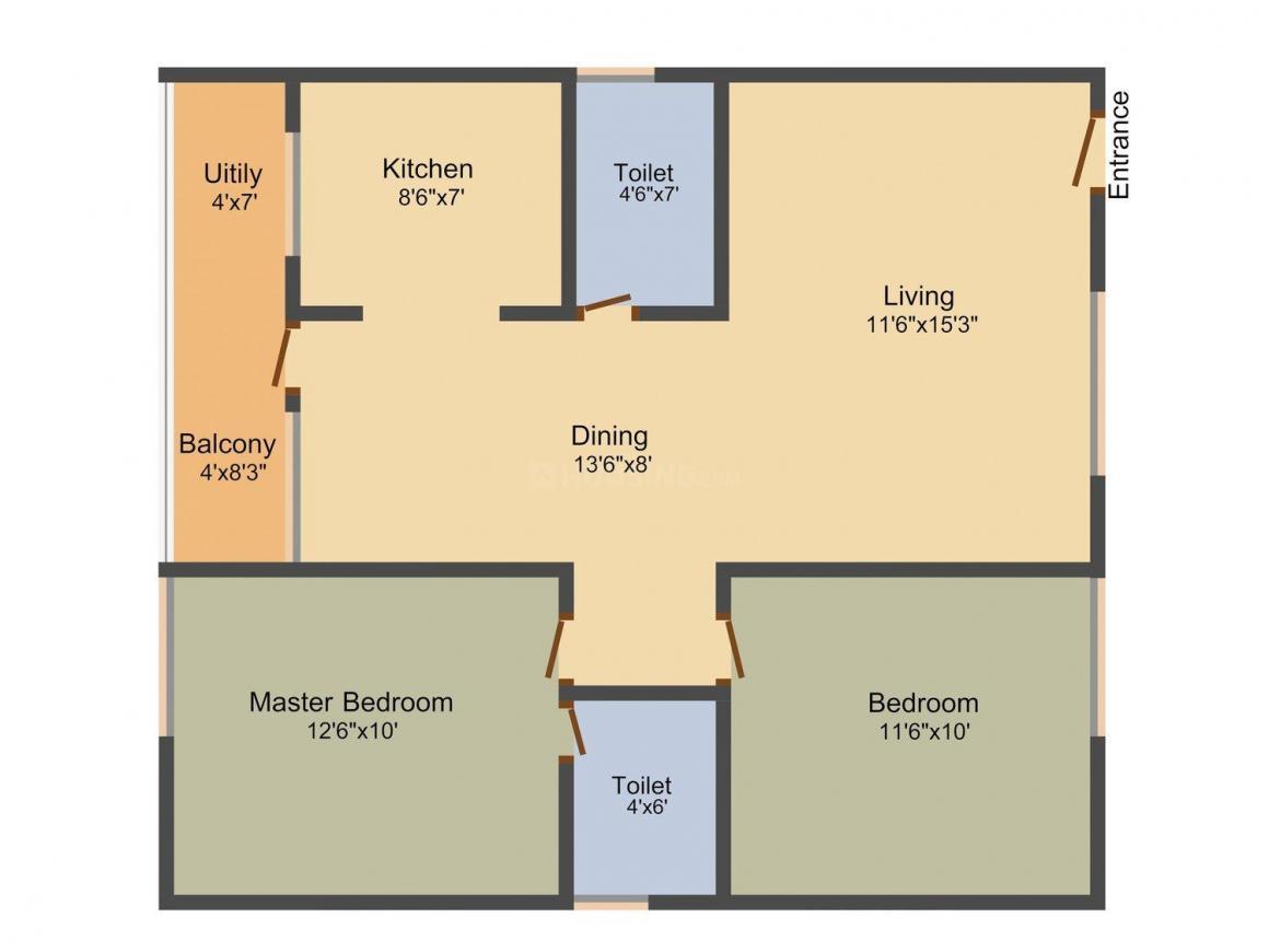 Floor Plan Image of 1055 - 1375 Sq.ft 2 BHK Apartment for buy in Balaji Krupa