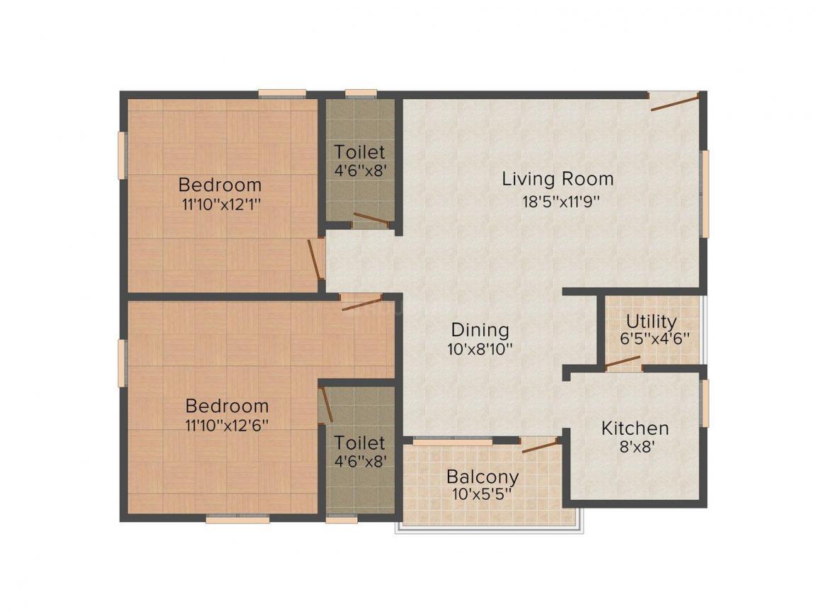 Floor Plan Image of 1238.0 - 1288.0 Sq.ft 2 BHK Apartment for buy in Manisha MK Residency