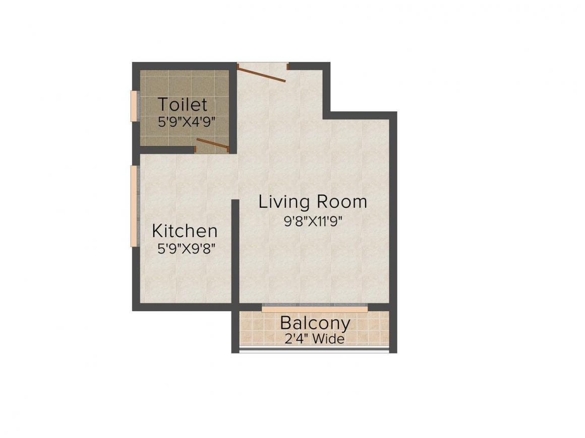 Floor Plan Image of 381.0 - 613.0 Sq.ft 1 RK Apartment for buy in Aashray Corner