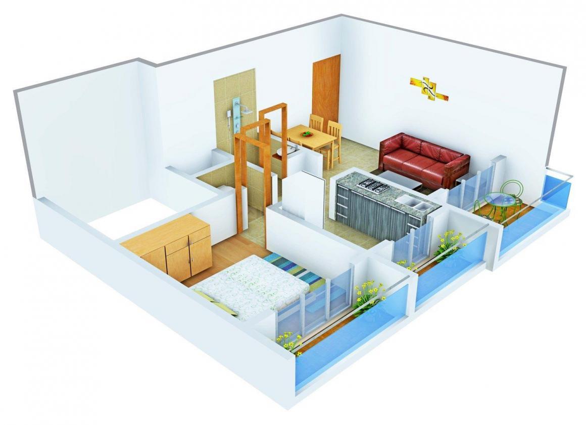 Floor Plan Image of 465.0 - 707.0 Sq.ft 1 BHK Apartment for buy in Platinum Regalia