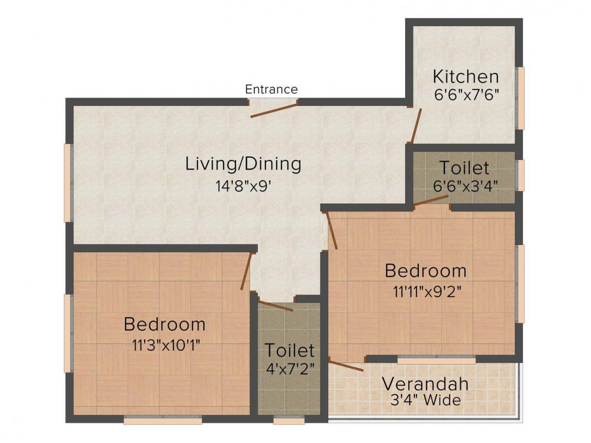 Floor Plan Image of 0 - 975.0 Sq.ft 2 BHK Apartment for buy in Sonu Mansion