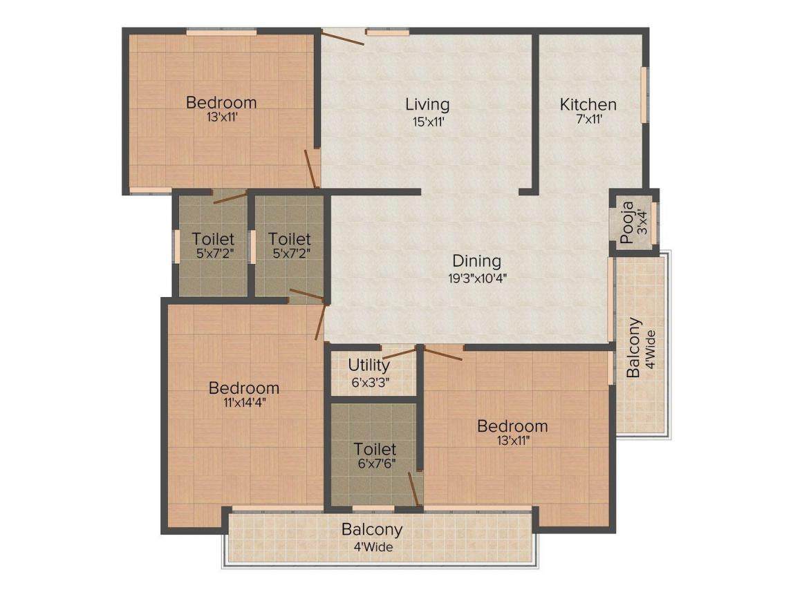 Accurate Tulsi Palm Floor Plan: 3 BHK Unit with Built up area of 1916 sq.ft 1