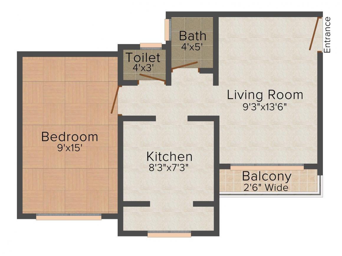 Floor Plan Image of 630.0 - 1330.0 Sq.ft 1 BHK Apartment for buy in Nana Patil Pride